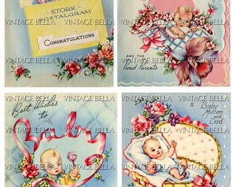 Vintage 1940s Baby Birth Greeting Card Digital Download 260 - by Vintage Bella collage sheet