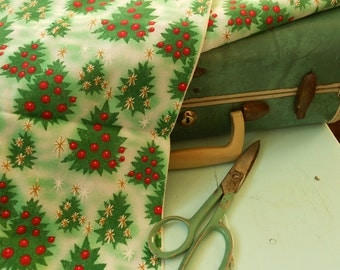 Vintage style Green Christmas Tree Red Bulbs and Snow Holiday Fabric - one yard of new fabric