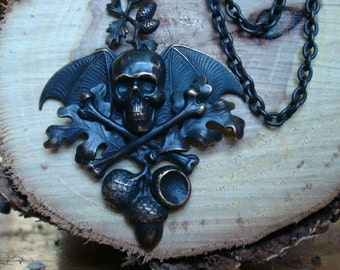 Skull and Bones Dark Soul Pendant Necklace, Acorn is a symbolism of Good Luck, Strength, Power and all good things, Exclusive Original