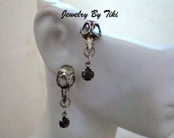 Raven Bird Skull Post Earrings, Gothic, Silver Ox, Rhinestone Dangle, Black Bird Skeleton Head with Smoky Jewel