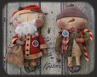 """Primitive E-PATTERN 14"""" Snowman Santa Doll HoHoHo Let it Snow"""