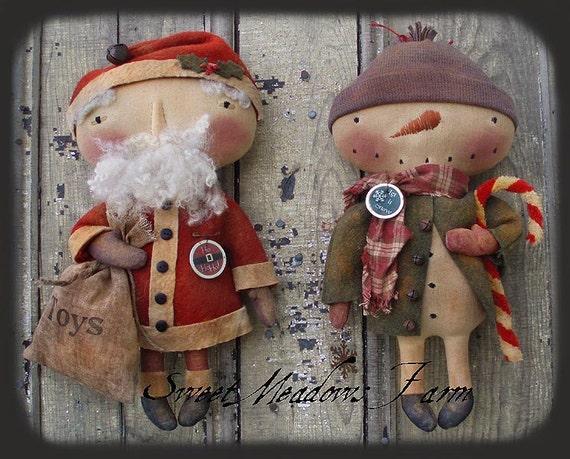 Primitive E Pattern 14 Snowman Santa Doll Hohoho Let It