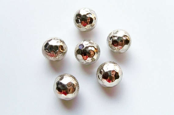 Vintage Shiny Faceted Silver Metal Ball Buttons