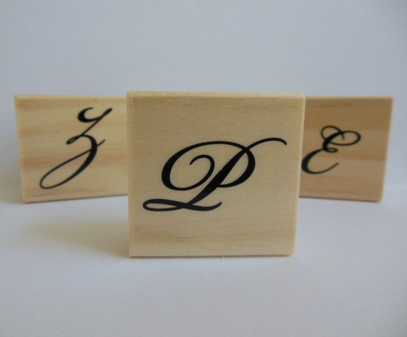 Letter P Rubber Stamp - Garden Canvas Collection - Wood Mounted Rubber Stmp - Alphabet Letter P
