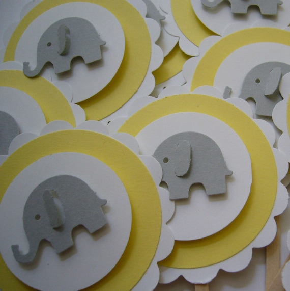 Elephant Cupcake Toppers - Gray, Yellow and White - Gender Neutral - Baby Shower Decorations - Child Birthday Party Decorations - Set of 12