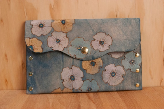 Leather Pouch - Gold, Sage, White and Blue  - Poppy Garden Pattern With Flowers