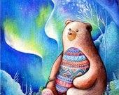 Black Bear Painting - Spirit Bear Animal Guide Totem - Aurora Borealis - Wall Art Watercolor by Annya Kai