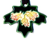 Maple Leaf Ceramic Necklace in Green