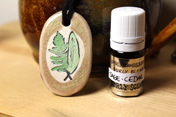 Sage and Cedar Scented Ceramic Necklace with Sage and Cedar Essential Oil  blend in small size
