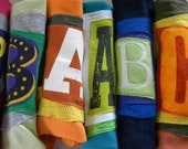Initial Custom Larger Initial Pouch ONE Letter upcycled repurposed t shirt sleeve Choose COLORS