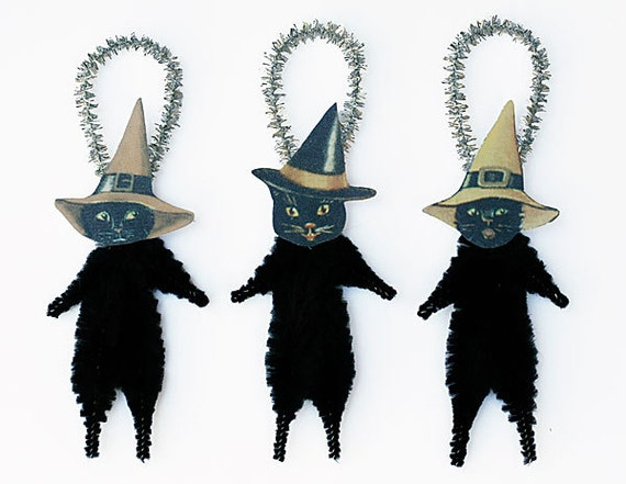 Black Cat Ornaments - Halloween Decor - Black Cats in Witch Hats
