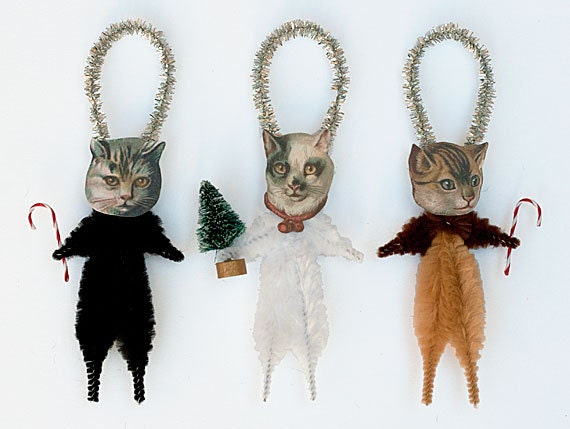 Holiday ornaments cat christmas ornaments by for Cat christmas ornaments craft