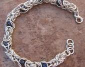 Argentium silver Byzantine caged purple pearl bracelet