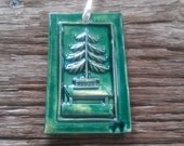 Green Victorian Christmas Tree on Table Tile Ornament