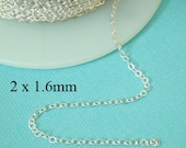 100 ft - Sterling Siver Flat Cable Chain  2 x 1.6mm