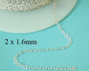 5 ft - Sterling Siver Flat Cable Chain  2 x 1.6mm