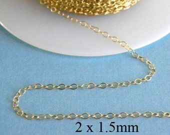 10 ft - 14k Gold Filled Flat Cable Chain  2 x 1.5mm