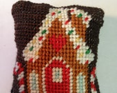 Gingerbread House with Red Door - Dollhouse Miniature Needlepoint Pillow
