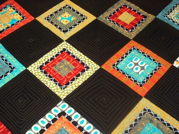 Modern Quilt  Twin/Double In Ethnic Prints