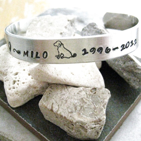 Pet Memorial Bracelet, hand stamped approx 3/8 inch wide, customizable, remembrance, loss of pet, pet keepsake, please read listing