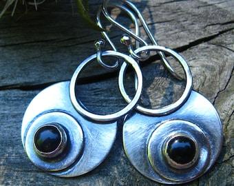 Black onyx gypsy hoop dangle earrings