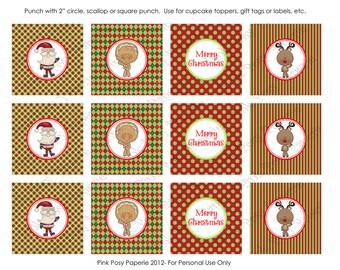 Printable Christmas North Pole Pals Cupcake Toppers