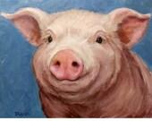 Pig Art Print of Original Painting by Dottie Dracos, Piglet Portrait, Pretty Pink Pig, Smiling Pig, Farm Animal Art, Pig Paintings