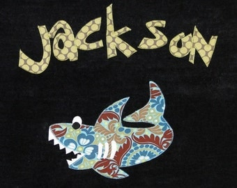 Personalized Large Black Velour Beach Towel with Shark, Pool Towel, Camp Towel, Bridal Party Gift, Baby Gift, Kids Bath Towel, Baby Towel