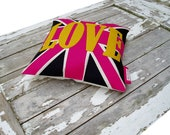 SALE ITEM  Love u Jack  cushion/pillow in Hot pink, black and yellow   Appliqued wool felt