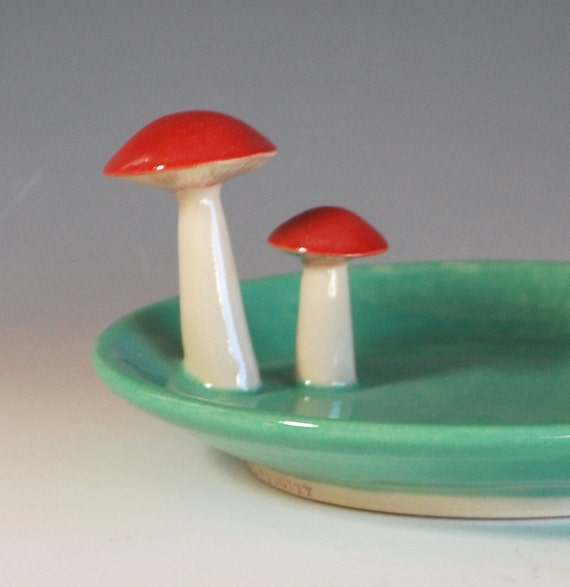 Mushroom Spoon Rest or Soap Dish, in Jade