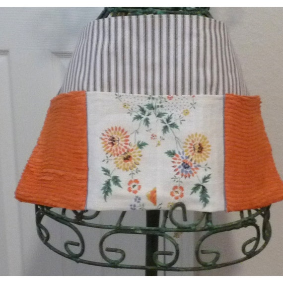RESERVED FOR ELLISA...Craft vendor or utility apron organizer with vintage chenille