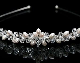 Bridal Wedding Tiara made with Swarovski Crystal  Beads, Rhinestones & Pearls