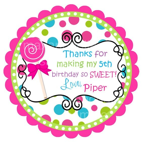 Lollipop Personalized Stickers, Labels, Polka Dots, Birthday Tags, Gift Tags, Party Favors, Children, Seals- Set of 12