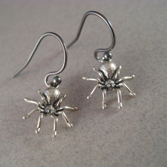 Silver Spider Earrings, Sterling Spiders, Halloween Earrings, Halloween Jewelry, Spooky Earrings, Spider Charms, Dangle Insect Earrings