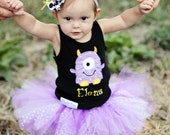 Personalized Girl's Embroidered Applique Monster Birthday Shirt (Sizes 12 Months-5T) Monster Halloween Shirt