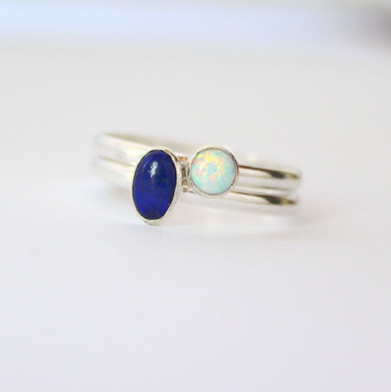 Stacking ring pair, Cobalt blue ring, lapis lazuli, synthetic opal ring, sterling silver, stackable ring pair, size 6 and a half