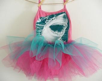 SHARK LEOTARD TUTU - Under the Sea Tutu- Shark Tutu - Shark Leotard- Under The Sea Party- Birthday Tutu - Toddler Tutu