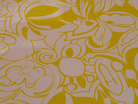 Bright Neon Yellow Floral Pattern Contact Paper-Remnant Pieces