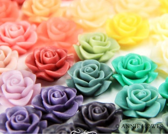 10 pcs Resin Rose Flowers with Flat Backs 21mm in Assorted Colors. 10 pack. AH21RFROSE
