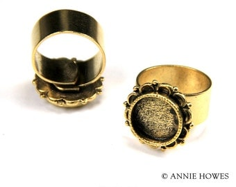 Small Gold Plated Ornate Ring Setting in Circle Shape. raosc-gb