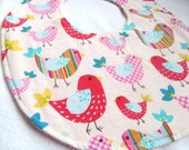 Boutique Bib - Rainbow Birdies - Cotton bib with pink terry cloth backing and snagfree velcro closure