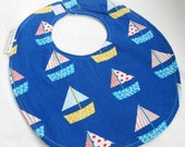 Baby Boy Bib - Don't Be Crabby - Sailboats in Blue - Cotton bib with light blue terry cloth backing and snagfree velcro closure