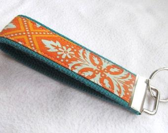 Wristlet Key Fob Key Chain in Heirloom Tile Flourish in Amber - Aqua and Orange - Fabric Keychain