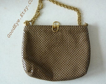 Vintage WHITING DAVIS Chainmail Purse Metal Mesh Shoulder Bag Khaki Tan Aluminum  Medium 1980s Top Handle