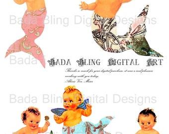 Baby Mermaids,  altered art, mermaid  digital collage sheets    INSTANT Digital Download at Checkout,mermaids, mermaid,paperdolls