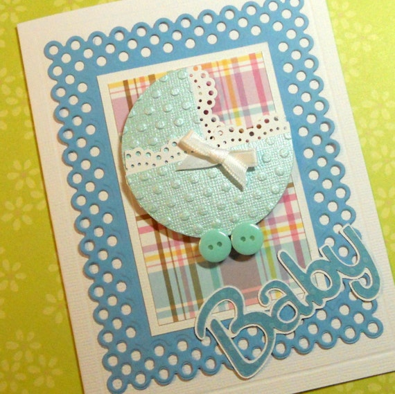 Baby Boy Card, New Arrival Card, Baby Shower Card, Welcome Baby Card, Congratulations Baby Greeting Card, Boy Baby Card,Handmade Card