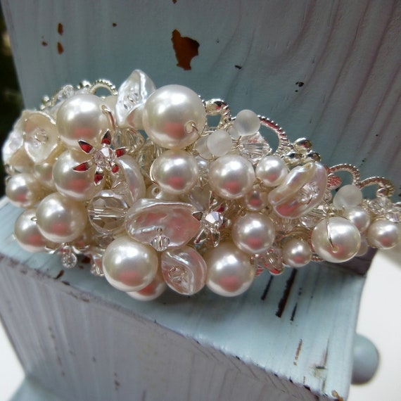 Bridal Headband White Pearl and Crystal Encrusted