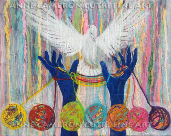 Prophetic Message Sketch 20-What Woman will Rise Up-- Yarn balls,hands, dove