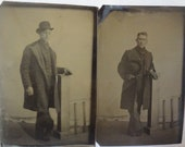 FREE SHIPPING-Set Of 2 Tintypes Of Handsome Men With Derby Hats