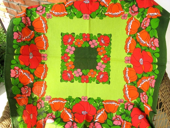 Retro Flower Power Tablecloth Tulips Flowers Red Orange Florina  On vacation parcels will be sent Nov. 14